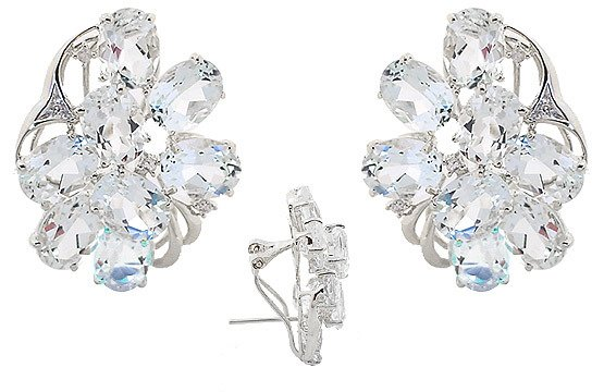 3008: WG 20ct Aquamarine oval diam cluster earring