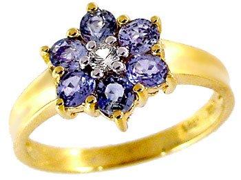 3010: 1.15ct Sapphire & white Sapphire flower ring