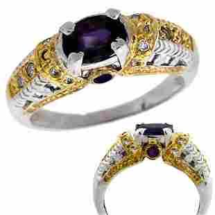 14k WG 1ct Sapphire saph/dia antique style Ring