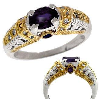 3011: 14k WG 1ct Sapphire saph/dia antique style Ring