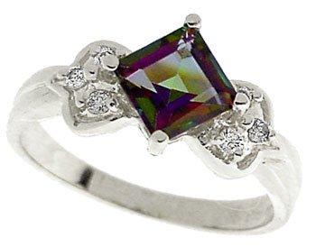 3016: 14KW 1.35ct Mystic topaz princess dia ring