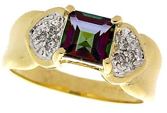 3017: 14KY 1.50ct Mystic topaz princess dia ring