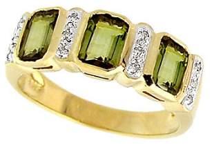14KY 1.70ct Tourmaline bezel diamond band ring
