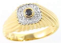 3040: 14KY .12cttw black diamond bezel dome mans ring