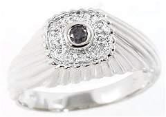 3095: 14WG .12cttw black diamond bezel dome mans ring