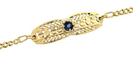 3012: 14YG Sapphire filligree link Chain bracelet 7inch