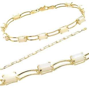10kt 3.5ct emerald cut opal link bracelet