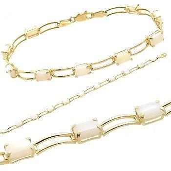 3014: 10kt 3.5ct emerald cut opal link bracelet