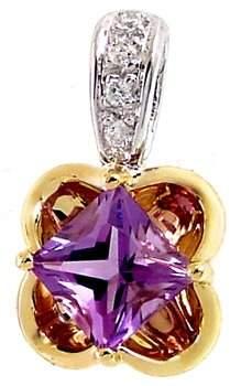 1ct Amethyst princess Diamond 2 tone pendant