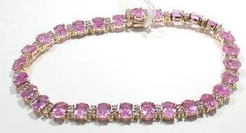 3129: 14KY 16.83ct Pink Sapphire Diamond bracelet