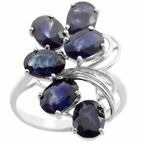 4006: WG 6.50ct sapphire 6 oval cluster ring
