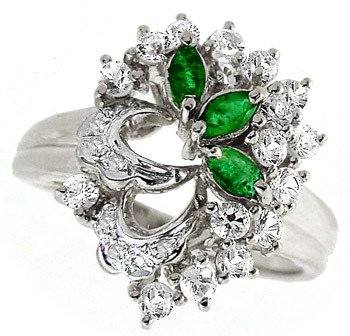 21: WG 1cttw emerald white sapphire dia ring