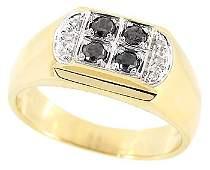 101: 14KY .31ct black white diamond mans ring