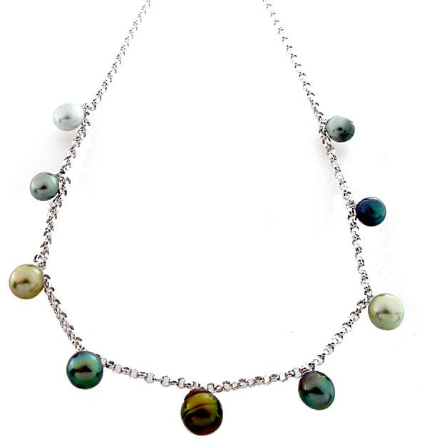 110: WG 8/12 Tahitian 9 pearl dangle rolo necklace 16in