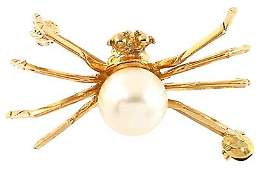 1095: 10YG 7mm white pearl spider pin