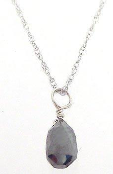 4002: 14kWG .50ct Black Diamond Briolette Solitare 18in
