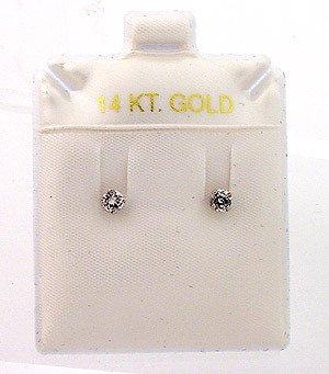 4003: 1/4ct Round-cut White Diamond Stud Earrings