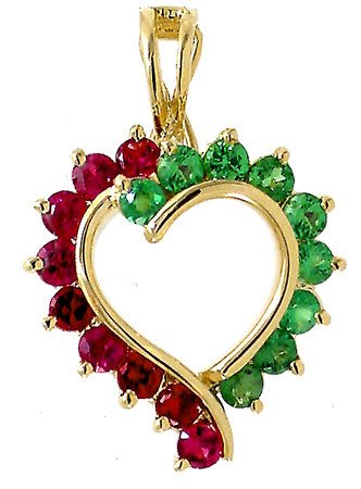4004: 1.17ct Tsavorite Garnet Sapphire Heart pendant