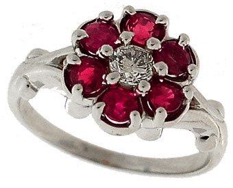 4005: 14k WG 1ct Ruby & Diamond Flower Ring