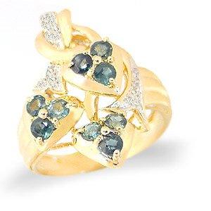 4007: 1.10ct Montana sapphire 3 flower dia ring