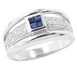 4008: WG sapphire princess .20dia pavé band ring