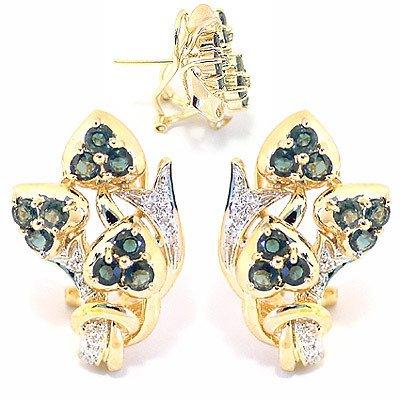 4009: 2ct Montana Sapphire 3 flower dia earring