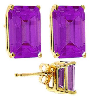 4013: 14kt 2cttw emerald cut AMETHYST stud earrings