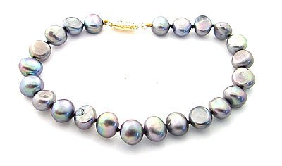 4015: 8/8.5mm grey pearl nugget 8inch bracelet