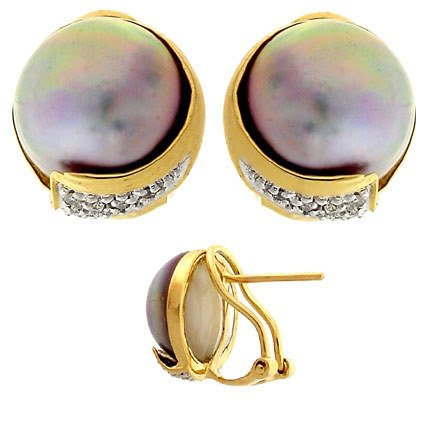 4017: 14YG 12.5mm pink Mabe pearl diamond earring