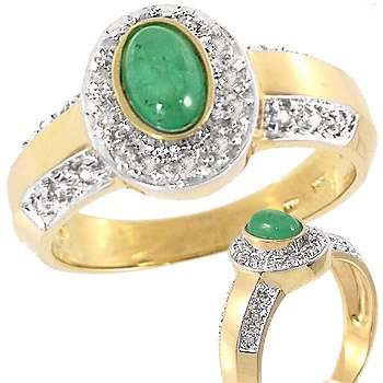 4019: .50ct emerald oval cabachon .14dia ring