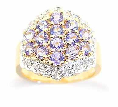 4024: 2cttw Tanzanite cluster pavé wide band ring