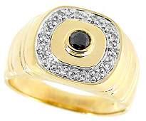 4049: 14KY .35cttw black & white diamond mans ring