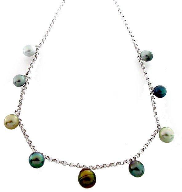 4110: WG 8/12 Tahitian 9 pearl dangle rolo necklace 16i