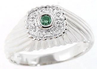 WG .09cttw blue diamond bezel dome mans ring
