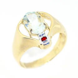 5010C: 1.75ct aquamarine oval ruby () wide band ring