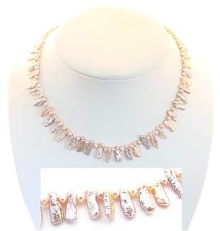 Pink biwa stick/ baby pearl 16 inch necklace