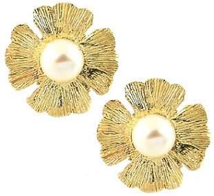 4.2mm white baby Pearl flower stud Earrings