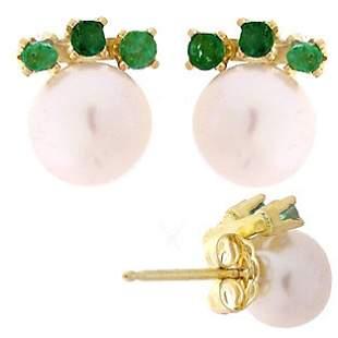 5.5mm pink pearl 3 emerald stud earring