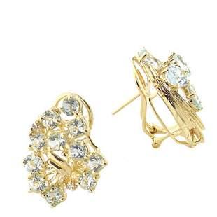 2.50ct aquamarine diamond cluster earring