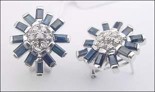 WG 3ct sapphire bagguette dia omega earring