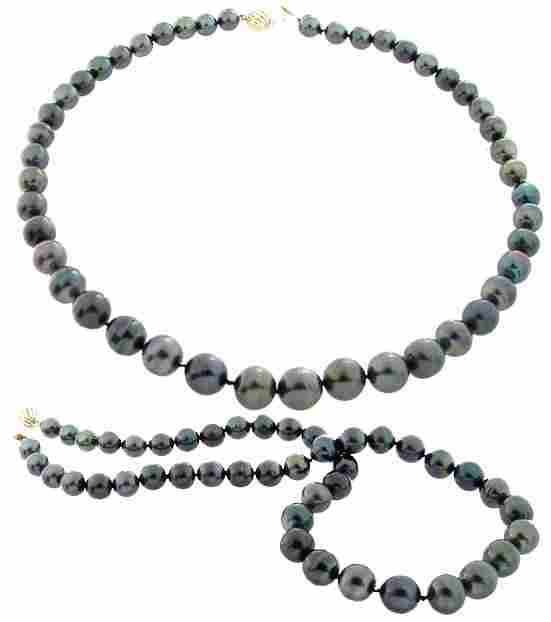 14YG 8/11.5m Tahitian 45 pearl necklace