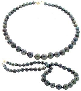 5074: 14YG 8/11.5m Tahitian 45 pearl necklace