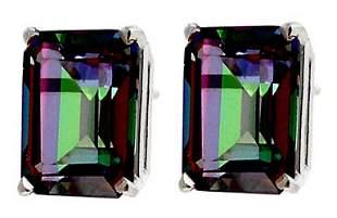 14KW 8.5ct Mystic-Topaz ecut stud earring