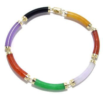 Multi color jade Curve Bar Bracelet 7in