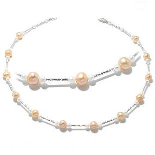 WG white gold Pearl Tin Cup 16in Necklace