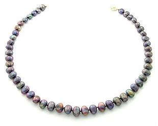 8/8.5mm grey pearl nugget 16inch necklace