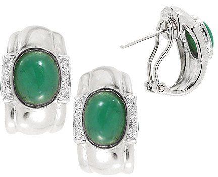 2.20ct emerald cabachon oval diamond earring