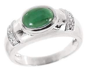 WG 1.63ct emerald cabachon oval diamond ring