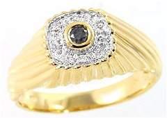 76A: 14KY .12cttw black diamond bezel dome mans ring