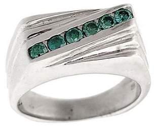 WG 1/3ctw 6-Teal Diamond Diagonal Mans Ring